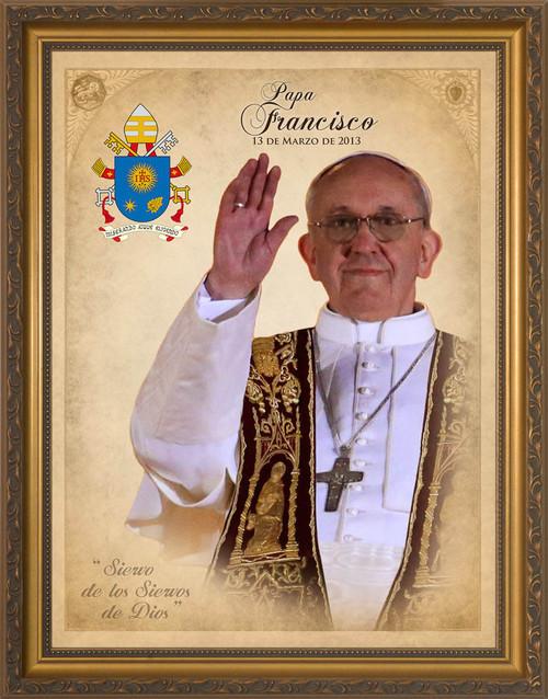 Spanish Pope Francis Commemorative Framed Art