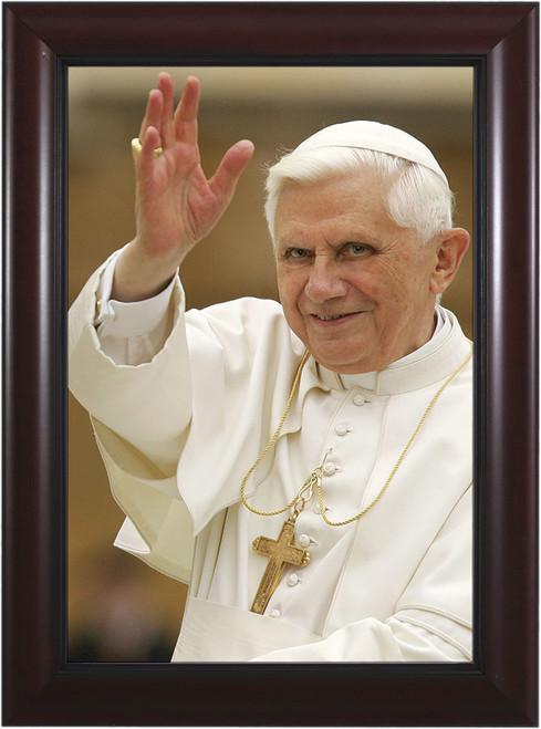 Pope Benedict Waving - Cherry Framed Art