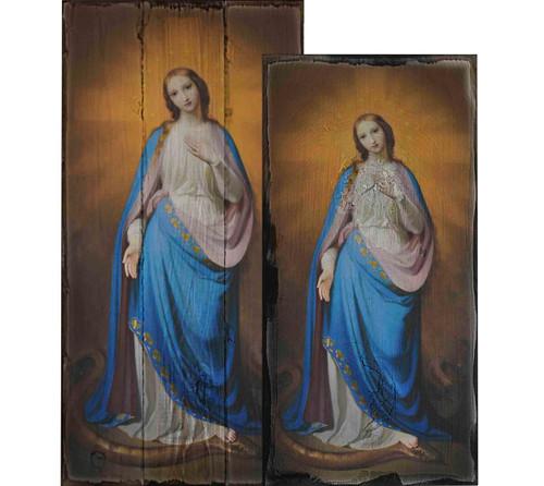 Virgin Victorious by Melchior Paul von Deschwanden Rustic Wood Plaque