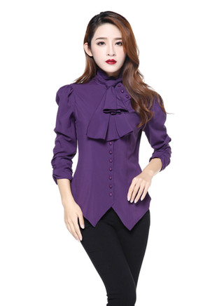 Plus Purple Steam Punk Blouse with Ruched Sleeves