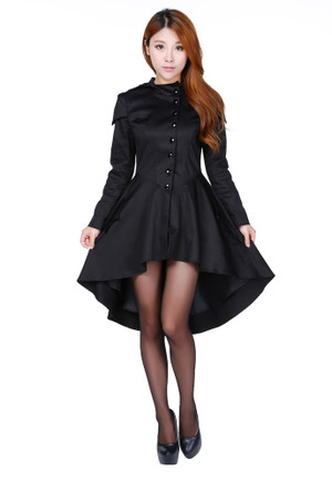 Plus Black Victorian Inspired Hooded Jacket