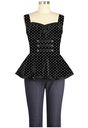 Plus Tabbed Pinup Top with Peplum