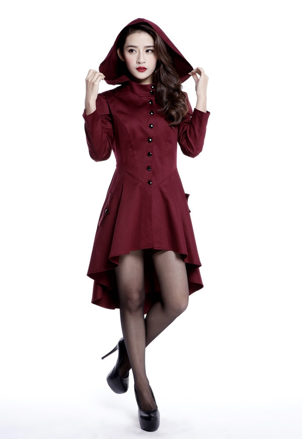 Victorian Inspired Hooded Jacket in Burgundy