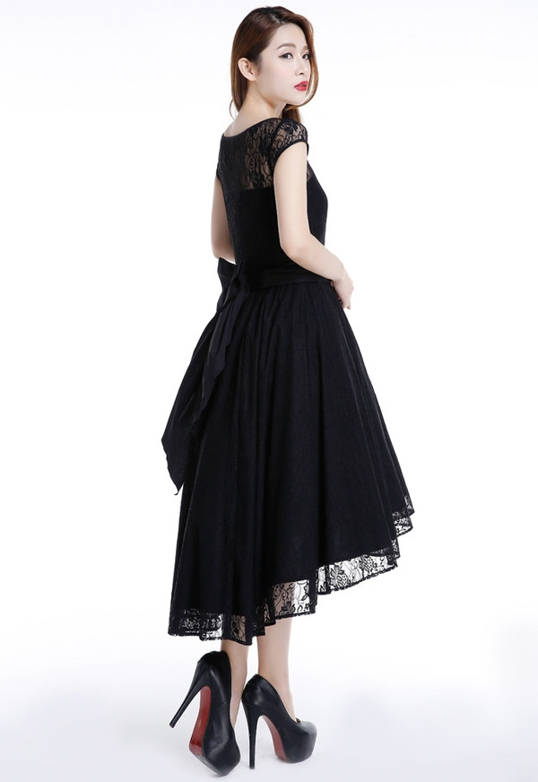 Lovely Lace Dress with High-low Design