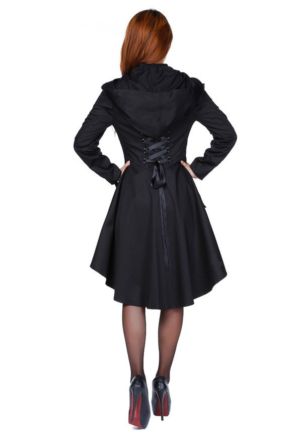 Victorian Inspired Hooded Jacket in Black