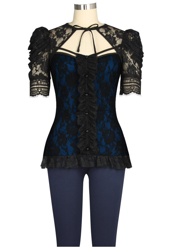 Plus Lace Covered Blue Top