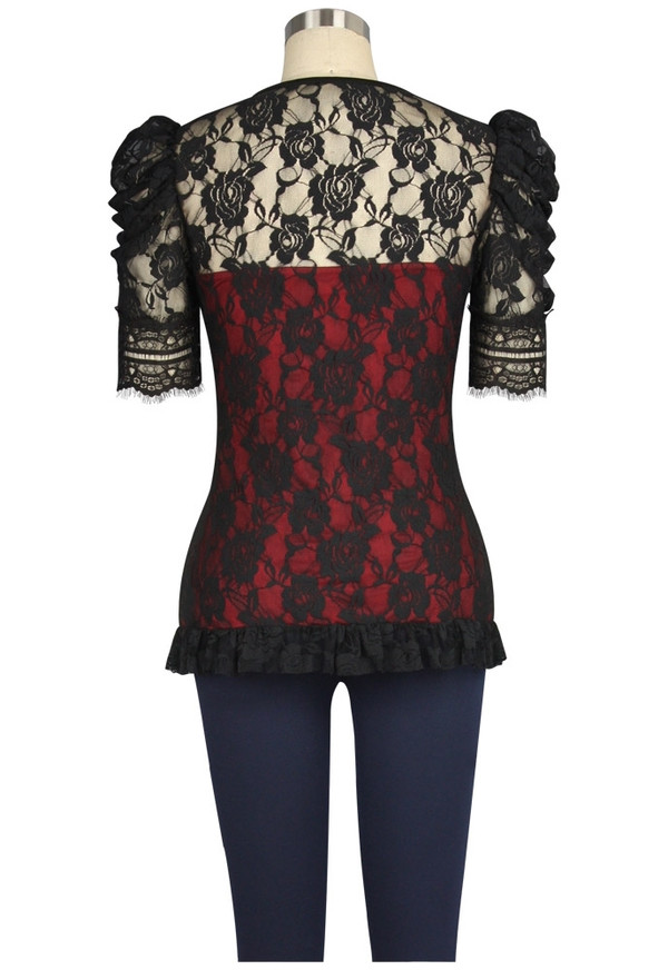 Plus Lace Covered Red Top