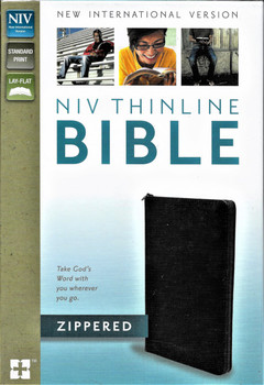 NIV Thinline Bible, zippered, black bonded leather.