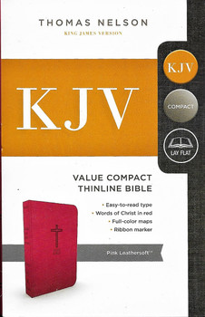 KJV Value Compact Thinline Bible - pink leathersoft cover.