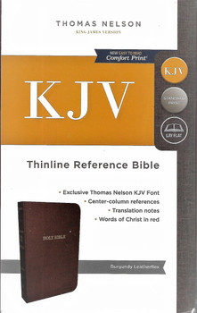 KJV (KING JAMES VERSION) Thinline Reference Bible. Burgundy Leatherflex. Words of Christ in Red.