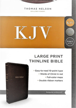 KJV (KING JAMES VERSION) Large Print Thinline Bible. Burgundy Leathersoft. Words of Christ in Red.