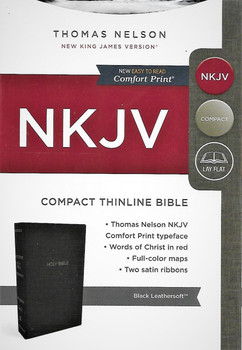 NKJV (New King James Version) Compact Thinline Bible. Easy to Read Comfort Print. Black Leathersoft.
