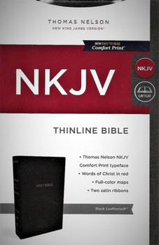 NKJV (New King James Version) Thinline Bible. Easy to Read Comfort Print. Black Leathersoft.