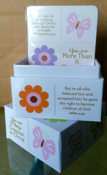 Scripture Box with 50 cards - In Christ butterfly design.