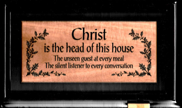 Christ is the Head of this house - solid mahogany wooden carved plaque 30cmx18cm.