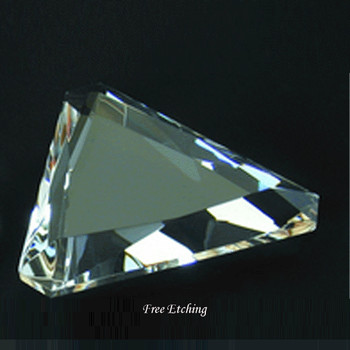 CRYSTAL GEM CUT PAPERWEIGHT - TRIANGLE SHAPE