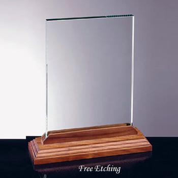 Vertical Glass Award with Walnut Base