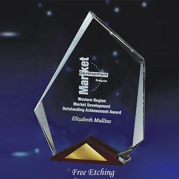 Glass Summit Award with Cherry Wood Base