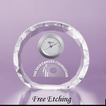 Faceted Round Crystal Desk Clock