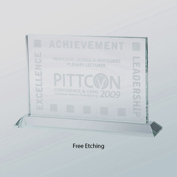 Horizontal Rectangle Glass Award  - 4 sizes