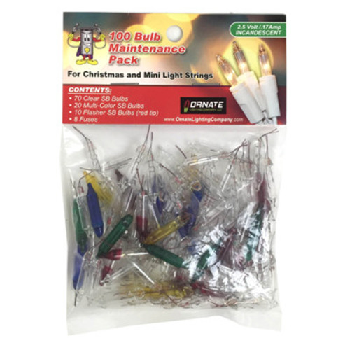 2.5 Volt - PINCHED BASE Mini Replacement bulbs - 100 Bulb Variety Pack