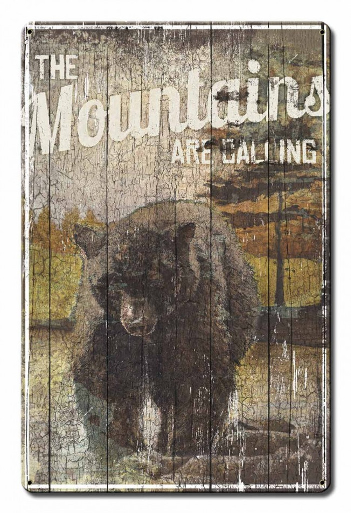 The Mountains Are Calling Metal Sign 12 x 18 Inches