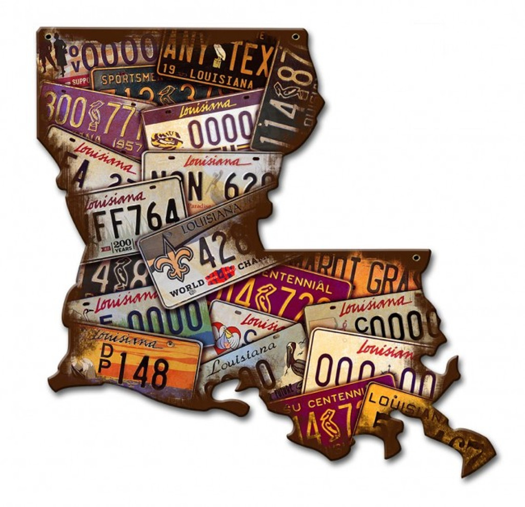 Louisiana License Plates Metal Sign 13 x 13 Inches