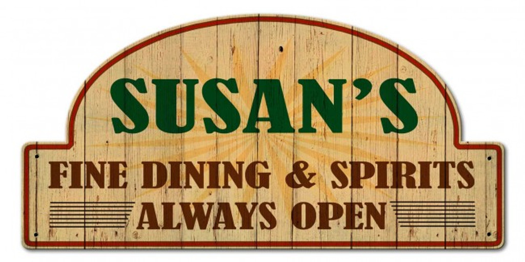 Fine Dining And Spirits  Metal Sign - Personalized 30 x 15 Inches