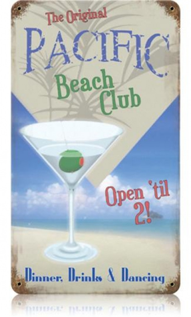 Vintage-Retro Pacific Beach Club Metal-Tin Sign