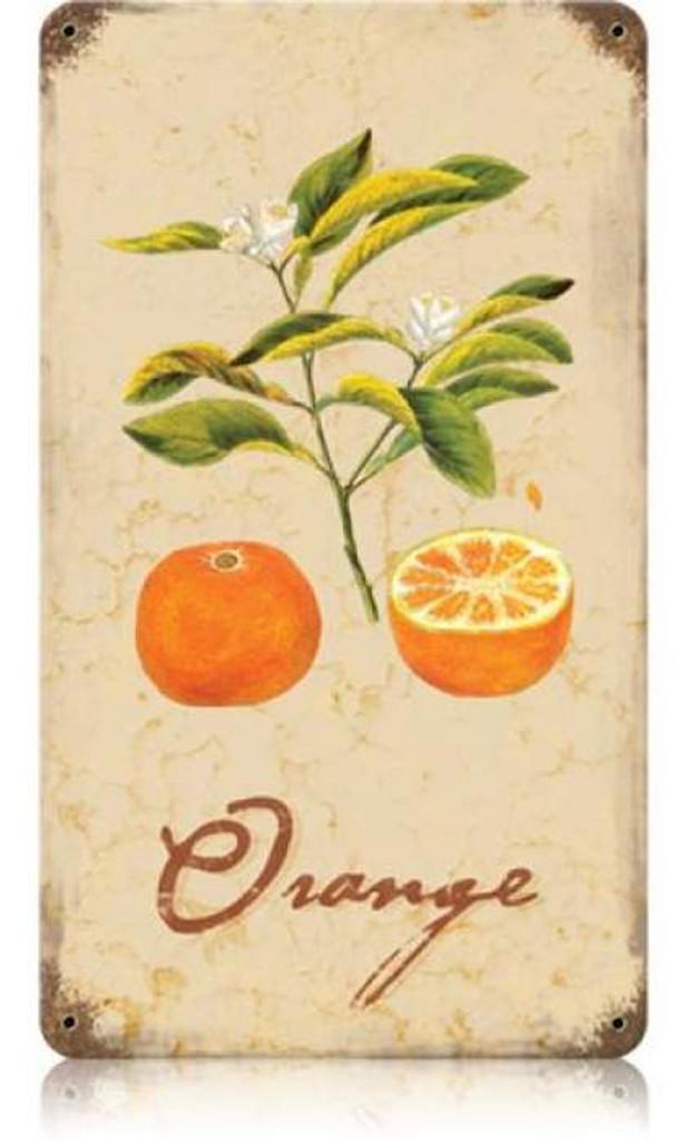 Vintage-Retro Orange Metal-Tin Sign