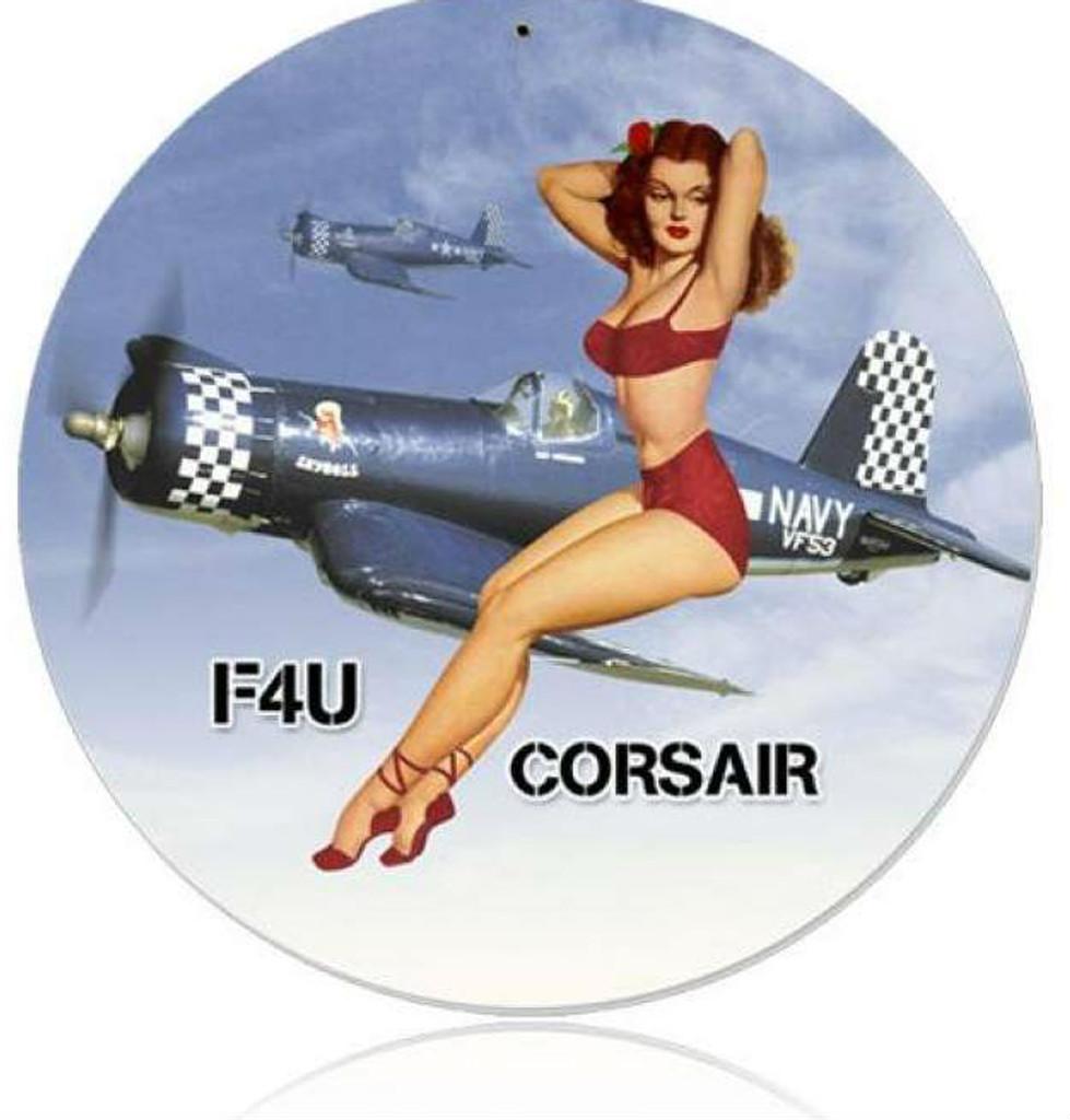 Vintage-Retro Corsair Pinup - Pin-Up Girl Metal Sign
