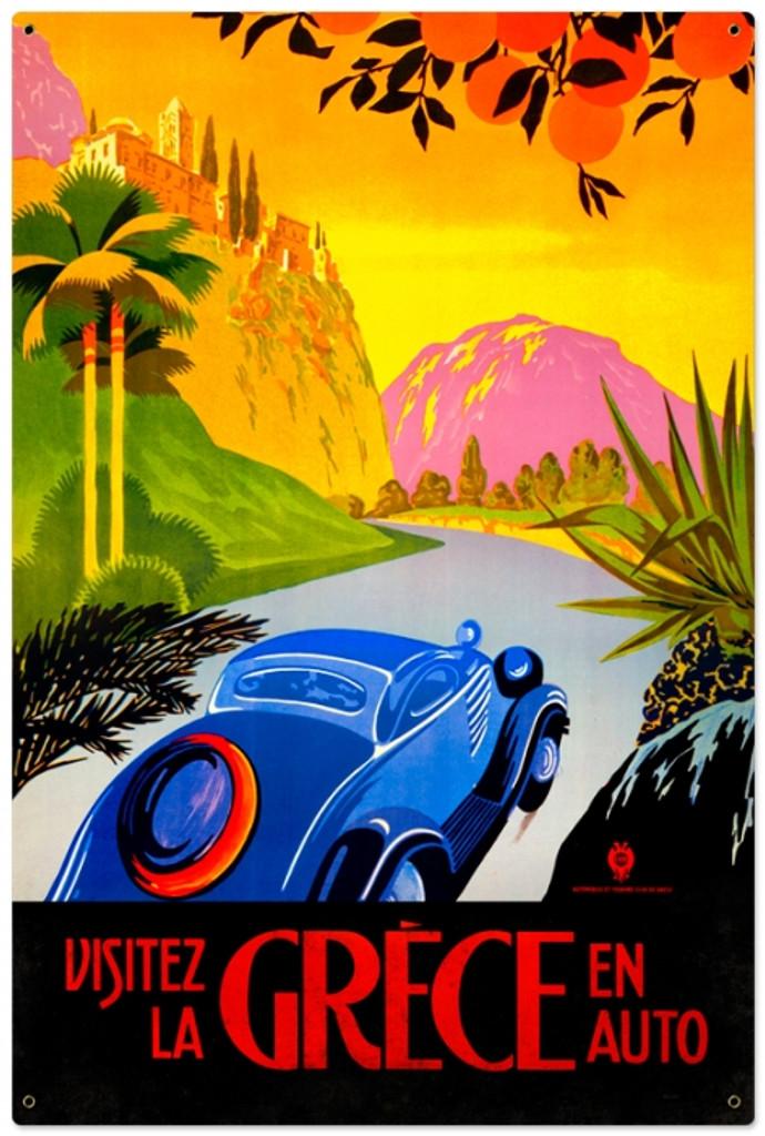 Vintage-Retro Greece Auto Travel Metal-Tin Sign