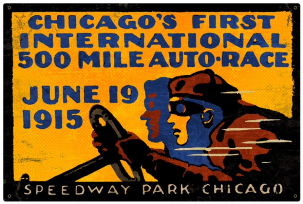 Retro Chicago 500 Metal Sign 36 x 24 Inches