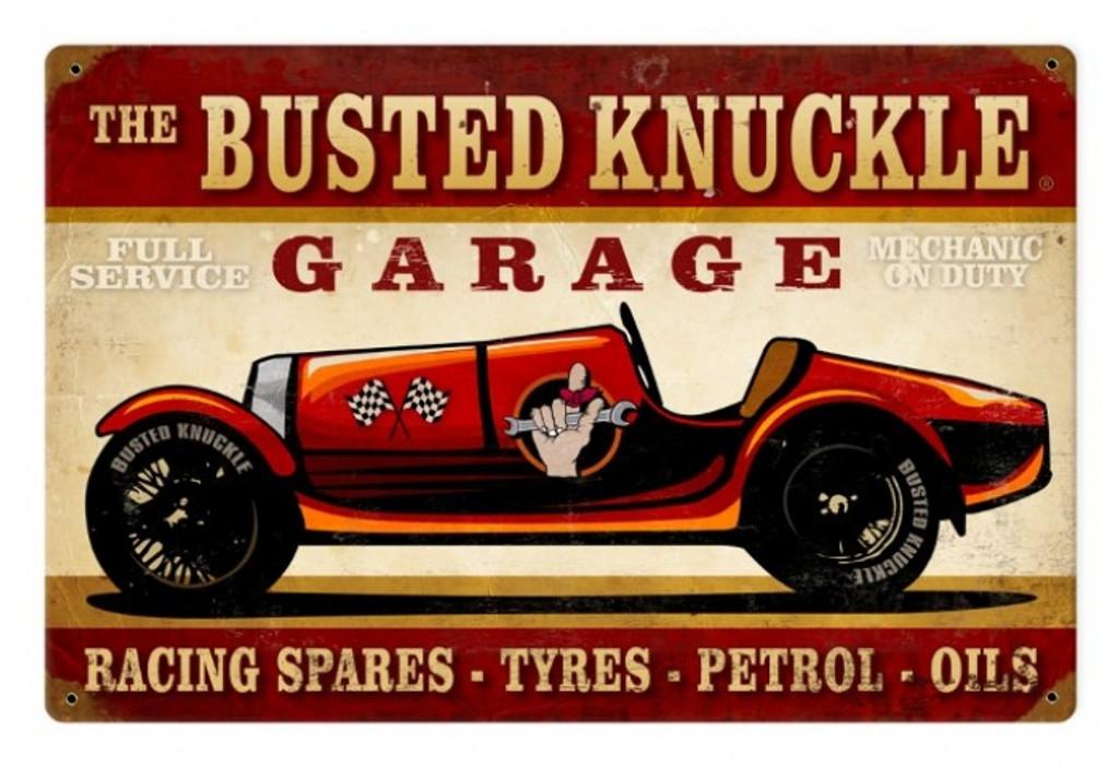 Vintage Race Car Metal Sign