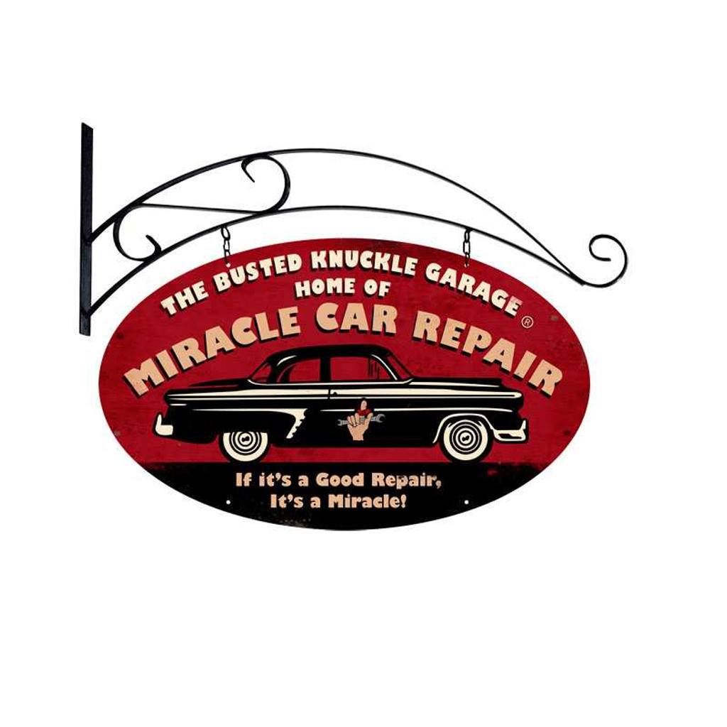 Retro Miracle Car Repair Double Sided Metal Sign  24 x 14 Inches