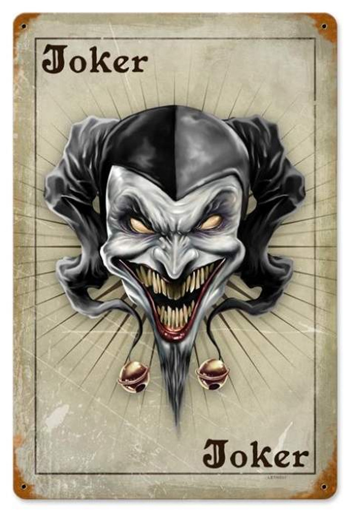 Chevron Gas Card >> Vintage Joker Card Metal Sign