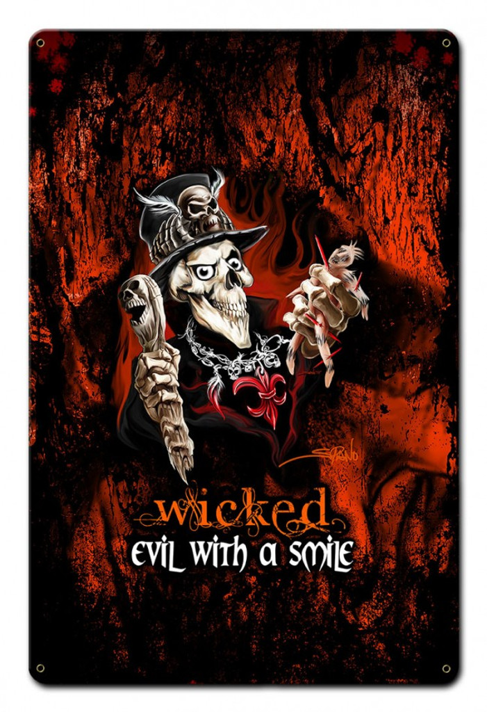 Wicked Voodoo Metal Sign 18 x 12 Inches