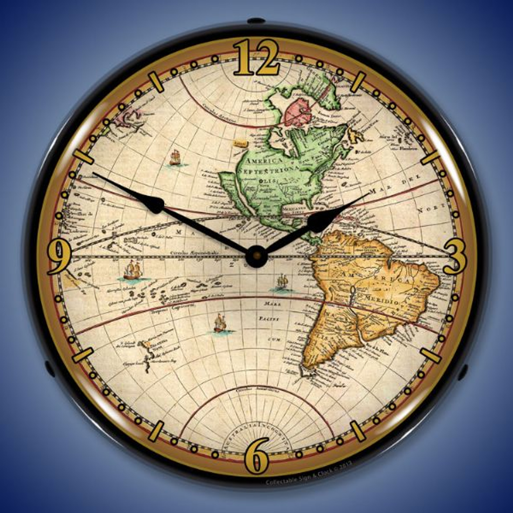World map of 1730 lighted wall clock 14 x 14 inches gumiabroncs Image collections