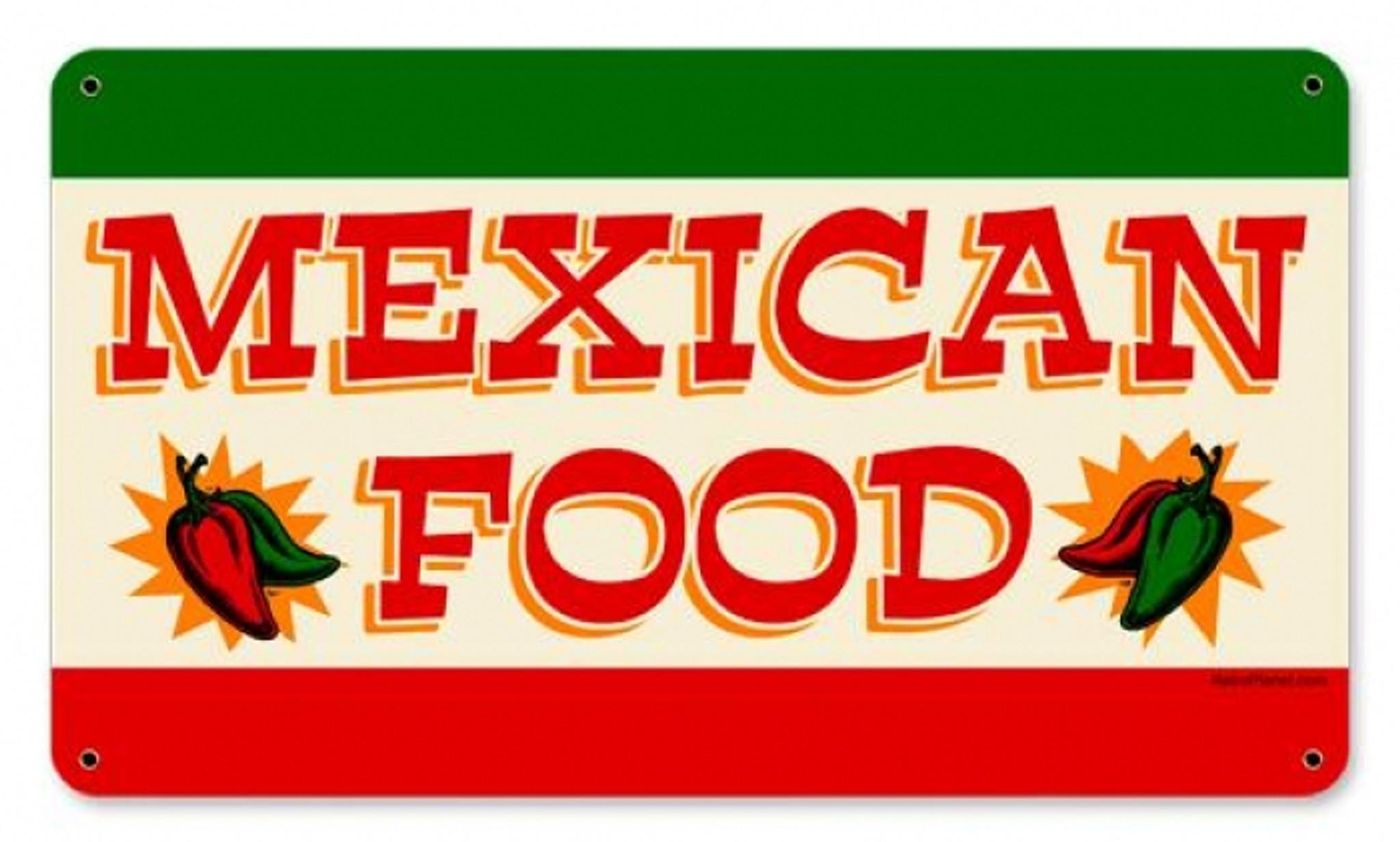 Retro Mexican Food Tin Sign