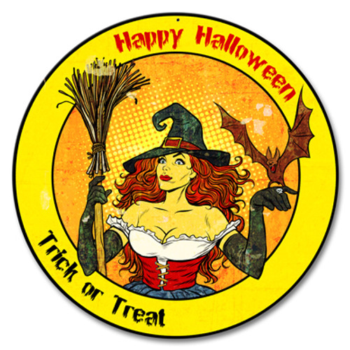 Happy Halloween Witch Metal Sign 14 x 14 Inches