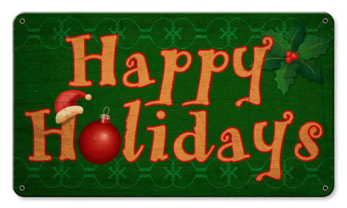 Happy Holidays Metal Sign 14 x 8 Inches