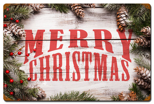 Merry Christmas Wood Pine Metal Sign 16 x 24 Inches