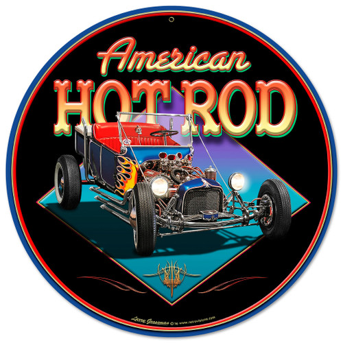 American Hot Rod Metal Sign 28 x 28 Inches