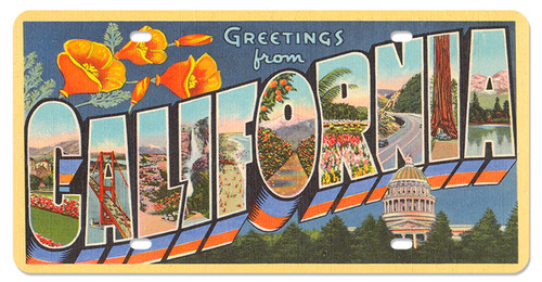 Greeting From California License Plate 12 x 6 Inches