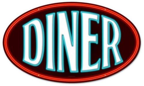 Vintage-Retro Diner Oval Metal-Tin Sign