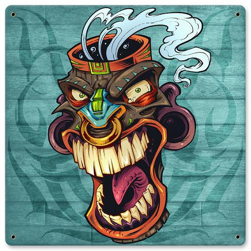 Tiki Head 6 Metal Sign 12 x 12 Inches