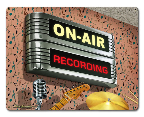 On Air Recording Metal Sign 12 x 15 Inches