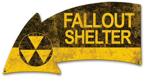 Fallout Shelter Arrow Metal Sign 21 x 11 Inches