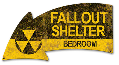 Fallout Shelter Bedroom Arrow Metal Sign 21 x 11 Inches