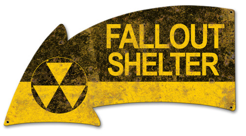Fallout Shelter Arrow Metal Sign 26 x 14 Inches